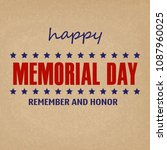 memorial day greeting card.... | Shutterstock .eps vector #1087960025