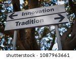 innovation or tradition ... | Shutterstock . vector #1087963661