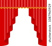 curtains with lambrequins on... | Shutterstock .eps vector #1087965929