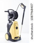 yellow high pressure washer on... | Shutterstock . vector #1087968407