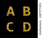 golden broken a b c d letters ... | Shutterstock .eps vector #1087977494