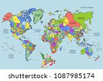 illustration   map of the world ... | Shutterstock . vector #1087985174