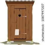 traditional wooden outhouse ... | Shutterstock .eps vector #1087997207
