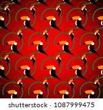 seamless toucans pattern.... | Shutterstock .eps vector #1087999475