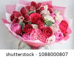 bright red bouquet of beautiful ... | Shutterstock . vector #1088000807