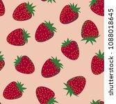 vector seamless strawberry... | Shutterstock .eps vector #1088018645
