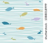 sea waves and fishes pattern.... | Shutterstock .eps vector #1088018999