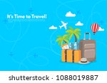travel suitcase with different... | Shutterstock .eps vector #1088019887