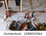 carpentry tools inside a room... | Shutterstock . vector #1088024564