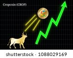 gold bull  throwing up cropcoin ... | Shutterstock .eps vector #1088029169