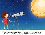 a boy observing the moon...   Shutterstock .eps vector #1088032565