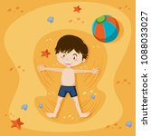 a boy playing at the sand beach ... | Shutterstock .eps vector #1088033027