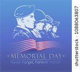 memorial day. blue vector... | Shutterstock .eps vector #1088063807