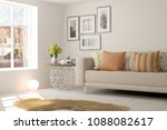 white modern room with sofa.... | Shutterstock . vector #1088082617