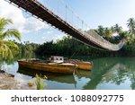 hanging bridge at loboc river   ... | Shutterstock . vector #1088092775