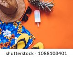 top view of summer accessories... | Shutterstock . vector #1088103401