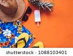 top view of summer accessories...   Shutterstock . vector #1088103401