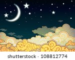 cartoon style night sky | Shutterstock .eps vector #108812774