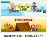 children enjoying summer camp... | Shutterstock .eps vector #1088185079
