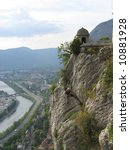 This is a Rock Climber Above Grenoble France - stock photo