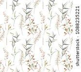 watercolor summer field herbs... | Shutterstock . vector #1088235221