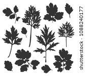 silhouette of bush leaves.... | Shutterstock .eps vector #1088240177