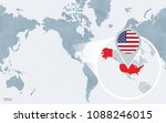 world map centered on america... | Shutterstock .eps vector #1088246015
