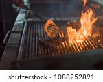 beef steak on the grill with... | Shutterstock . vector #1088252891
