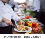 cook chef decorating garnishing ... | Shutterstock . vector #1088252894