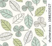 hand drawn leaves vector... | Shutterstock .eps vector #1088253527