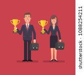 businessman and business woman...   Shutterstock .eps vector #1088254211