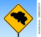 belgium map road sign. square... | Shutterstock .eps vector #1088265074