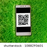 smart phone with qr code on the ... | Shutterstock . vector #1088293601