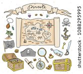 pirate map and treasure hand... | Shutterstock .eps vector #1088295995