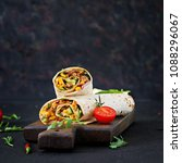 burritos wraps with beef and... | Shutterstock . vector #1088296067