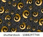 gold and black swirl seamless... | Shutterstock .eps vector #1088297744