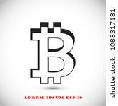bitcoin icon vector  stock... | Shutterstock .eps vector #1088317181