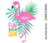 vector pink flamingo and palm... | Shutterstock .eps vector #1088318081