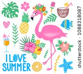 vector summer set with pink... | Shutterstock .eps vector #1088318087