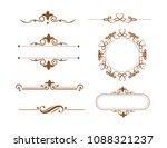 vintage vector set. floral... | Shutterstock .eps vector #1088321237