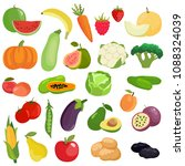 vector set of vegetables ... | Shutterstock .eps vector #1088324039