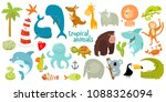 big set of vector animals.... | Shutterstock .eps vector #1088326094