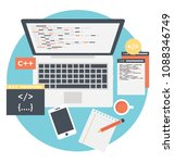 workspace desk with laptop and ... | Shutterstock .eps vector #1088346749