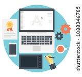 creative process flat vector... | Shutterstock .eps vector #1088346785