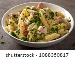 italian pasta penne with... | Shutterstock . vector #1088350817