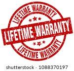 lifetime warranty round red...   Shutterstock .eps vector #1088370197