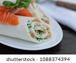 tortilla with a red fish... | Shutterstock . vector #1088374394