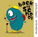 cute monster character  back to ... | Shutterstock .eps vector #1088376269