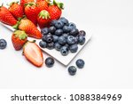 strawberry and blueberries ... | Shutterstock . vector #1088384969