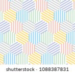 pale color hexagon pattern... | Shutterstock .eps vector #1088387831